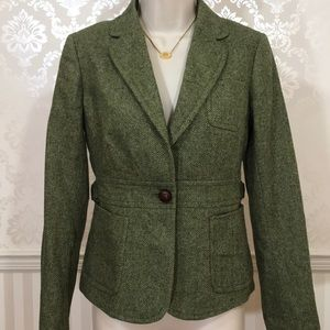 J. Crew Green Herringbone Regent Blazer in Wool